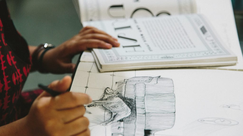 Sketching for an artwork (Chandigarh 2012)