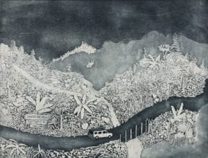 Exploring the North East ( Etching edition of 10, Baroda, 2013) INR 15,000. Size 50 x 70 cm