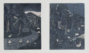 Once upon a time in Kodaikanal (Etching edition of 10, Baroda, 2012) INR 10,000, set of two A4 size plates printed side by side.