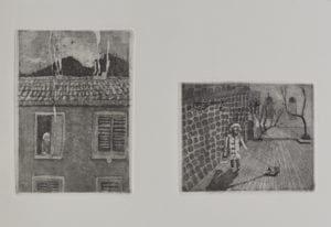 Lady Next door (Etching edition of 10, Florence 2012) INR 15,000, Size: 10 x 15 cm, 2 plates printed on the same paper)