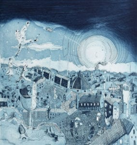 Firenze by Night ( Etching edition of 20, Florence, 2012) INR 15,000. Size 35 x 35 cm