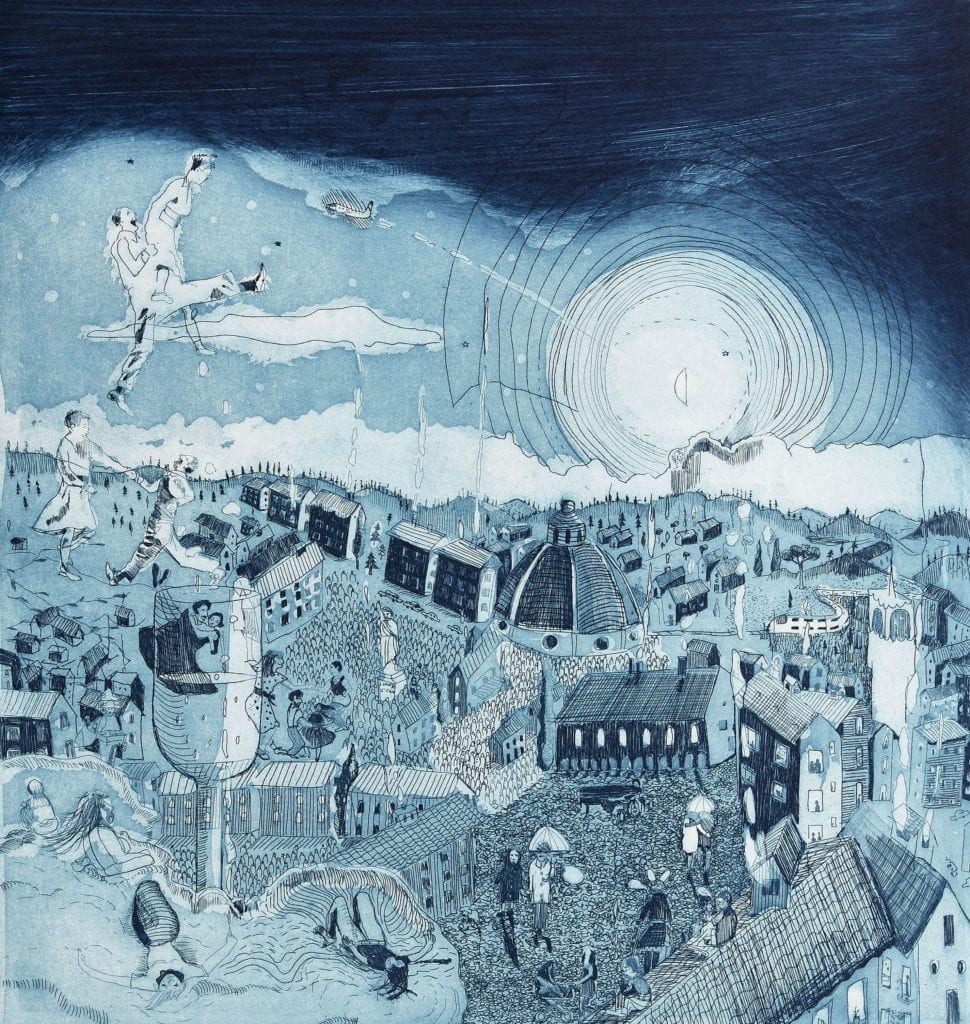 Firenze by Night ( Etching edition of 20, Florence, 2012)