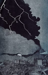 Storm in Guwahati (Etching edition of 10, Baroda, 2013) INR 25,000 Size 70 x 100 cm