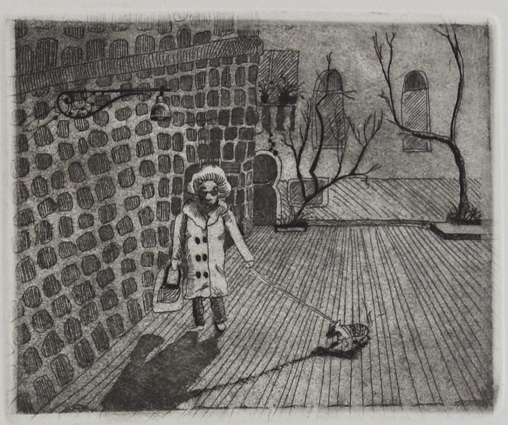 Lady Next door (detail) (Etching edition of 10, Florence 2012)