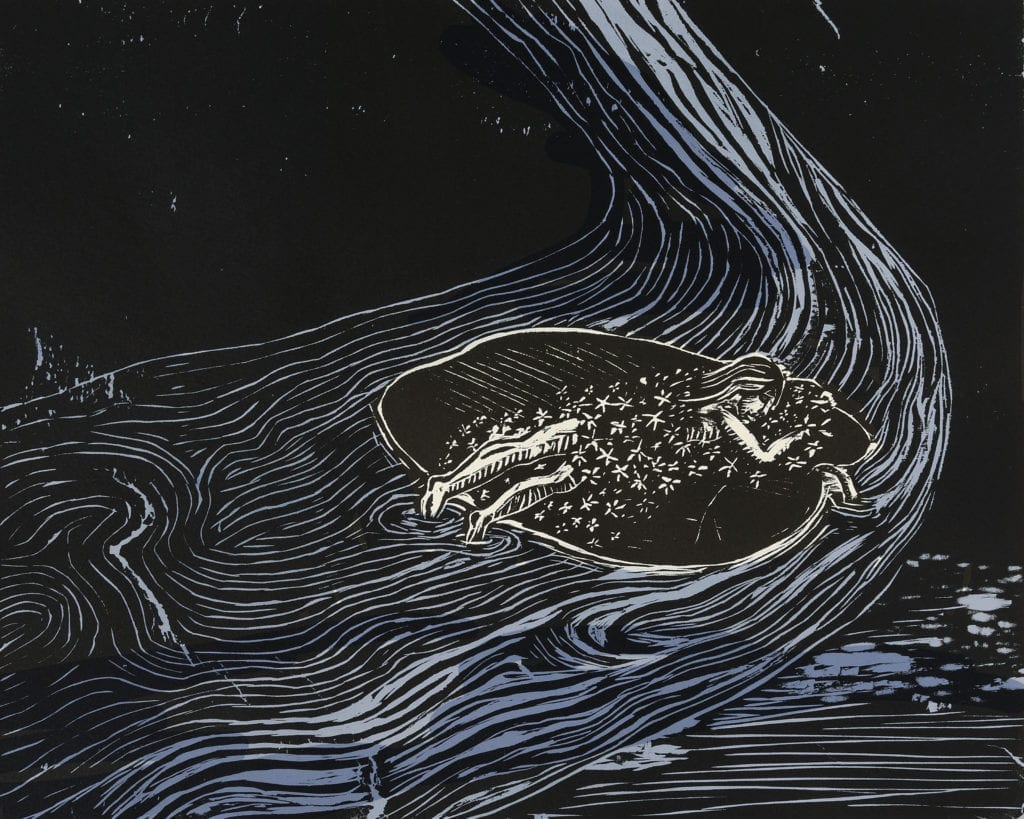 Propelled by Sleep (Woodcut with handpainted blue, edition of 10, Baroda)