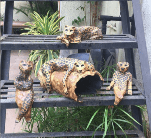 Leopards chilling, ceramic sculptures